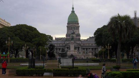 Wide shot of Argentinian Congress at dusk Footage