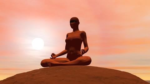 Meditation Pose - 3D Render stock footage