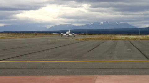 Private Jet Landing On The Airport Of Puerto Natales, Chile stock footage