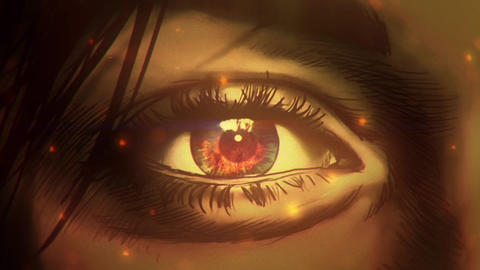 Cartoon woman eye watching on to big fire Animation