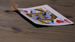 Burning Queen Of Hearts Poker Card stock footage