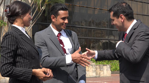 Business People Greeting Exchanging Business Cards Footage