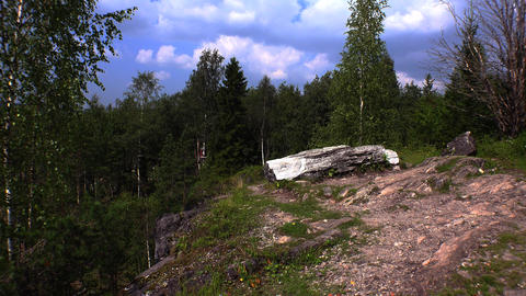 Sleeping Angel Sculpture. Marble Canyon. Ruskeala, Karelia. 4K stock footage