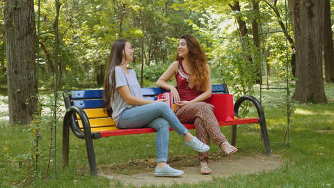 Two beautiful young women chatting in the park Footage