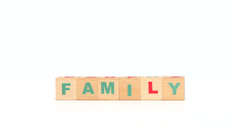 Family Word Compiled Of Cubes stock footage
