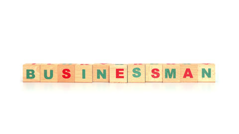 Businessman Word Made From Wooden Cubes stock footage