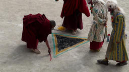 Timelapse of monks drawing on floor at Festival,Lamayuru,Ladakh,India Footage