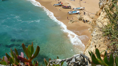 View Of Carvoeiro Beach From East stock footage
