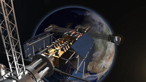 Space satellite view of the world Animation