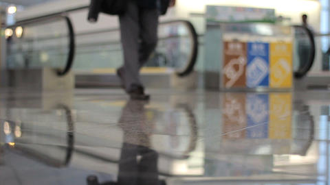 People Walking Through Busy Airport stock footage