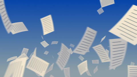 Flying Documents On Sky stock footage