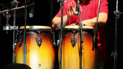 Man Playing Percussion On The Concert stock footage