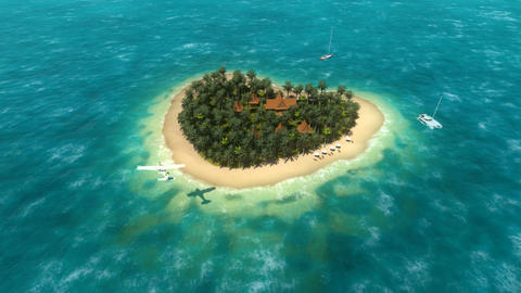 Small Airplane Landing Approach Near Heart Shaped Tropical Island stock footage