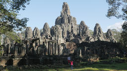 Two Woman Making Picture At Bayon In Angkor Thom,Siem Reap,Cambodia stock footage