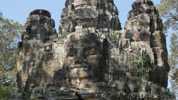 Eastern Gate Detail Of Angkor Thom,Siem Reap,Cambodia stock footage