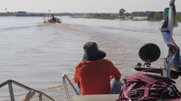 Boat on river river to Tonle Sap,Tonle Sap,Cambodia Footage