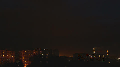 Thunderstorm Over Night City stock footage
