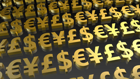 Currency Symbols Seamless Loop in Gold Footage