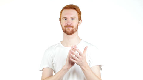 Young Man Clapping And Smiling Isolated Over A White Background stock footage