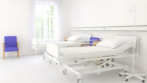 Empty hospital beds on hospital ward Footage
