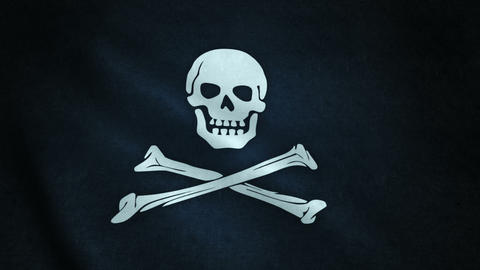 3d animation of pirate flag closeup Animation