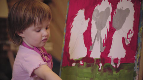 The Little Girl With Short Hair Paint Picture Concentrated Mouse stock footage