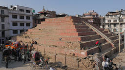 Maju Deval Temple On Durbar Square After Earthquake,Kathmandu,Nepal stock footage