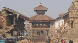 Damages On Durbar Street After Earthquake,Bhaktapur,Nepal stock footage