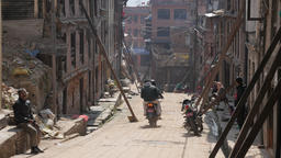 Street With Damaged Buildings After Earthquake,Bhaktapur,Nepal stock footage