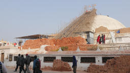 Giant Stupa In Repair After Earthquake,Kathmandu,Boudhanath,Nepal stock footage