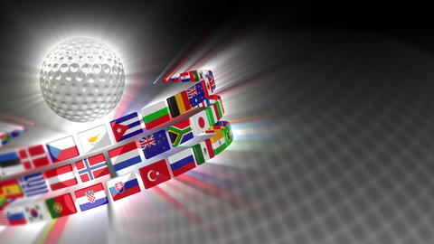Golf Ball with International Flags 50 (HD) CG動画素材