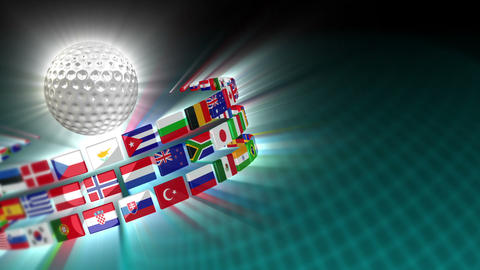 Golf Ball with International Flags 52 (HD) CG動画素材