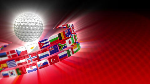 Golf Ball with International Flags 54 (HD) CG動画素材