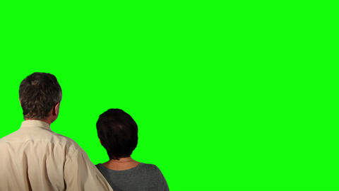 Happy Couple Over Green Screen stock footage