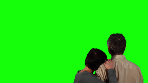 Happy Couple Over Green Screen 2 stock footage