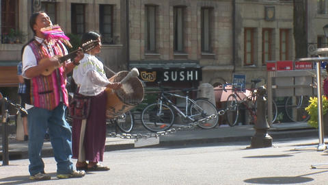 Street Music In Geneva stock footage