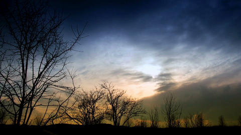 Time Lapse Clouds And Silhouettes Of Trees stock footage