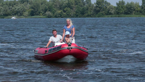 Cheerful Family Floating On A Boat In Sunny Day stock footage