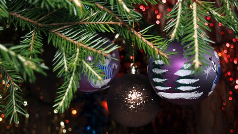 Colorful Christmas Balls Close-Up stock footage
