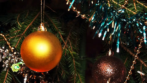 Shot Of A Decorated Christmas Tree With Ornaments And Lights stock footage