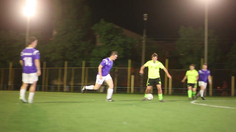 Soccer Player Giving Pass. Forward Strikes On Goal stock footage