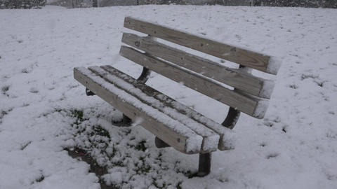 Park Bench During Snow Storm Footage