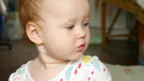 Portrait Of Adorable Baby Girl stock footage