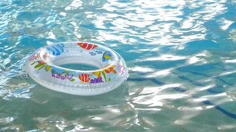 Circle Floating In The Pool stock footage