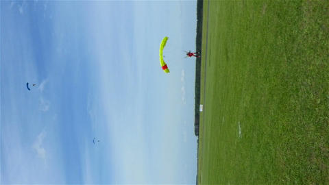 Parachute Landing During Air Show, Hd Vertical Shot stock footage