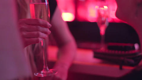 Chatting Females At Bar Socializing Drinking Champagne stock footage