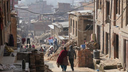 People Walking In Street Damaged By Earthquake,Bhaktapur,Nepal stock footage