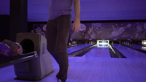 Man Throws Bowling Ball Footage