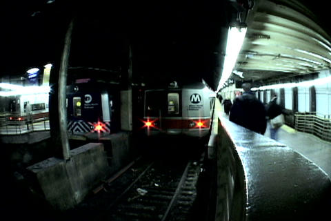 Grand Central Station Train Fish Eye Shutter stock footage