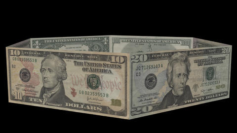 Ring Of US Dollar Bills From 1 To 100. Alpha Channel Included stock footage